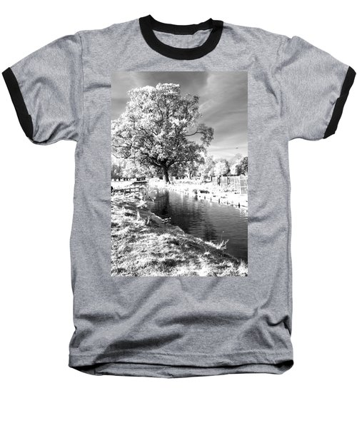 Single Tree Aginst The Sun Baseball T-Shirt by Maj Seda