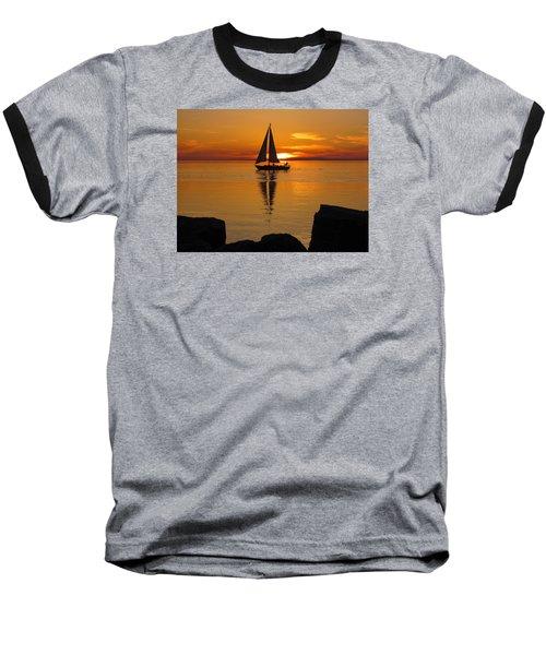 Sister Bay Sunset Sail 2 Baseball T-Shirt by David T Wilkinson