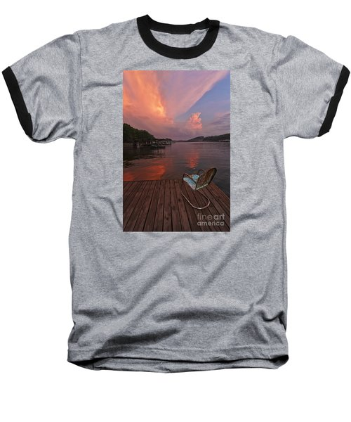 Sittin' On The Dock Baseball T-Shirt by Dennis Hedberg