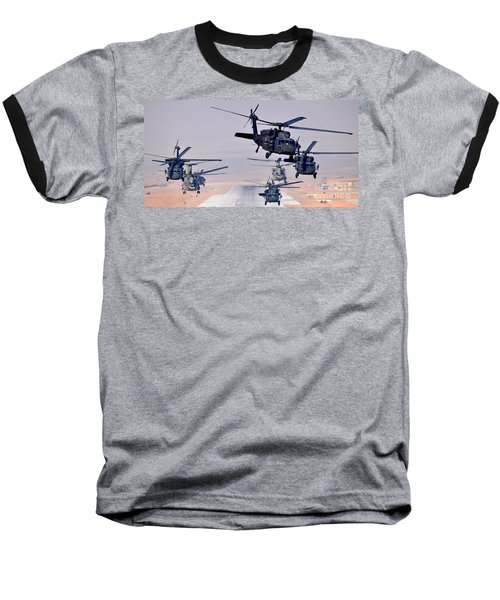 Six Uh-60l Black Hawks And Two Ch-47f Chinooks Baseball T-Shirt