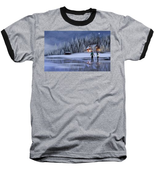 Skating At Christmas Night Baseball T-Shirt