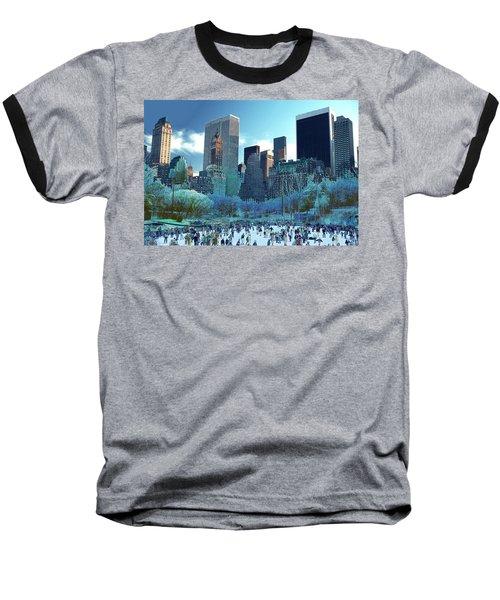 Skating Fantasy Wollman Rink New York City Baseball T-Shirt by Tom Wurl