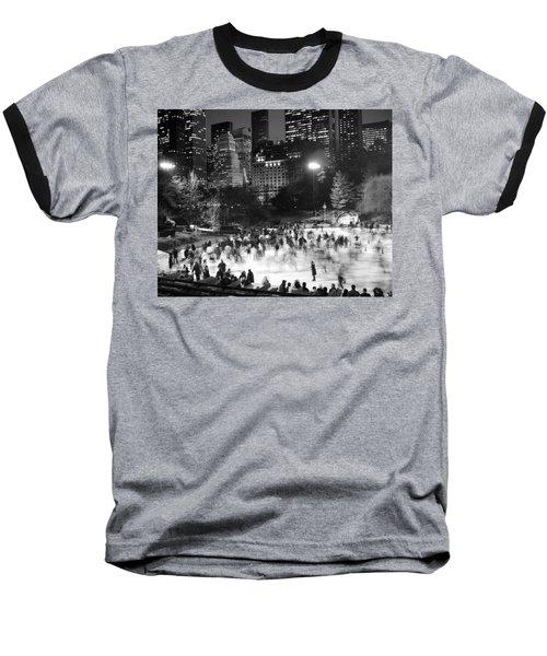 New York City - Skating Rink - Monochrome Baseball T-Shirt