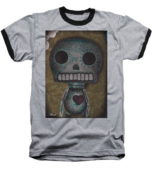 Skelly With A Heart Baseball T-Shirt by Abril Andrade Griffith
