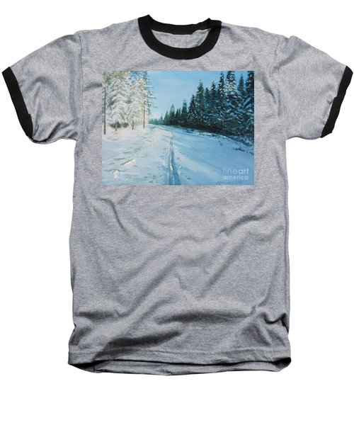 Baseball T-Shirt featuring the painting Ski Tracks by Martin Howard
