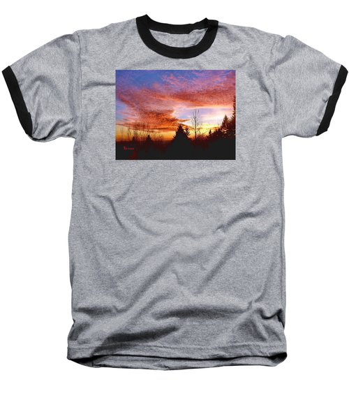 Baseball T-Shirt featuring the photograph Skies Ablaze by Sadie Reneau