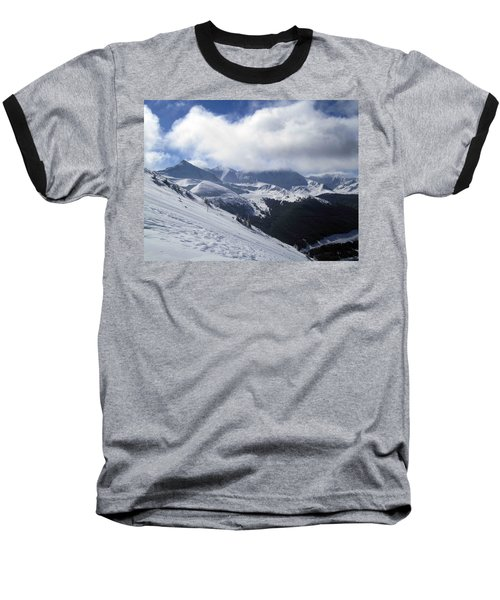 Skiing With A View Baseball T-Shirt by Fiona Kennard