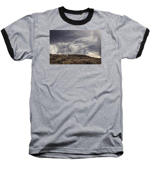 Skirting The Storm Baseball T-Shirt by Joan Davis
