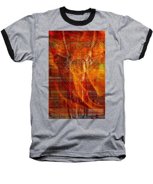 Skull On Fire Baseball T-Shirt