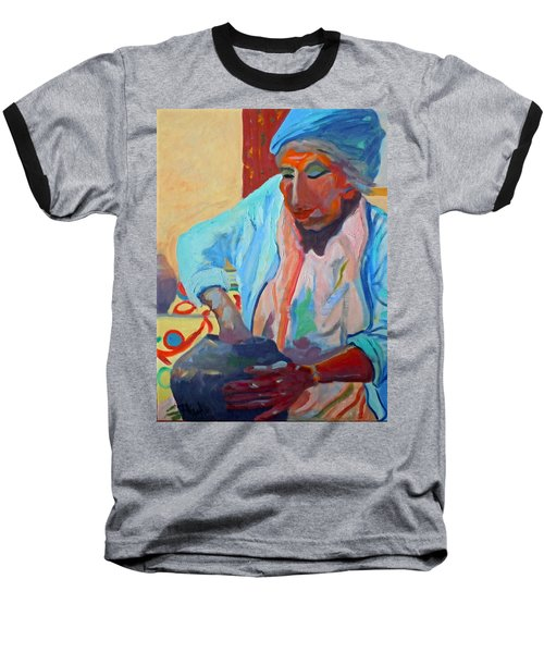 Baseball T-Shirt featuring the painting Sky City - Marie by Francine Frank