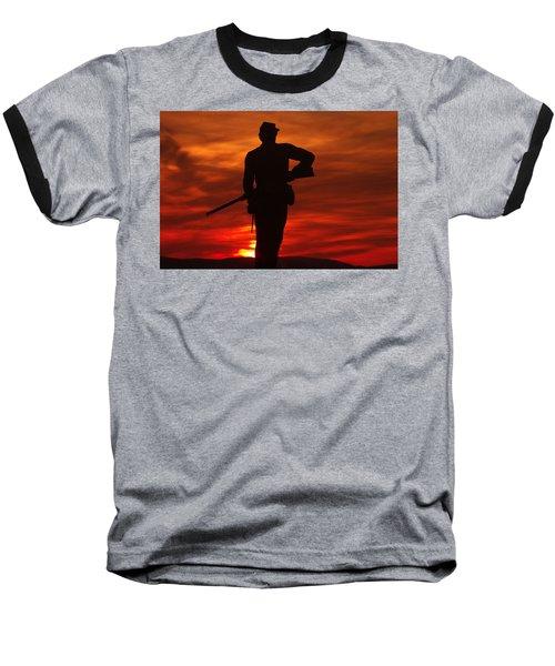 Baseball T-Shirt featuring the photograph Sky Fire - 111th New York Infantry Hancock Avenue Brian Farm Cemetery Ridge Sunset Winter Gettysburg by Michael Mazaika