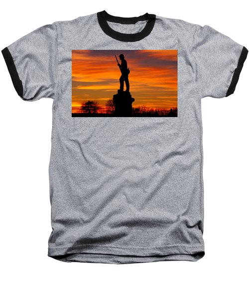 Baseball T-Shirt featuring the photograph Sky Fire - 128th Pennsylvania Volunteer Infantry A1 Cornfield Avenue Sunset Antietam by Michael Mazaika
