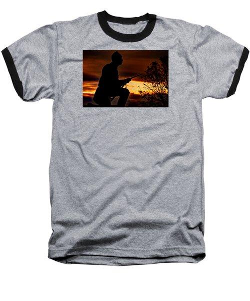 Baseball T-Shirt featuring the photograph Sky Fire - 1st Pa Cavalry Regiment-a1 Cemetery Ridge Near Copse Of Trees Dawn Autumn Gettysburg by Michael Mazaika