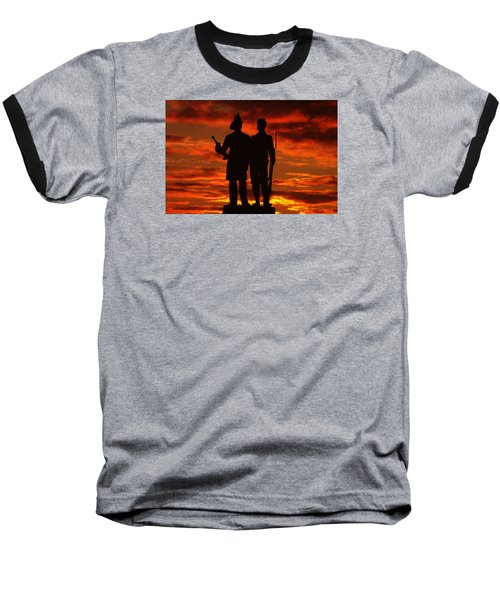 Sky Fire - 73rd Ny Infantry Fourth Excelsior Second Fire Zouaves-a1 Sunrise Autumn Gettysburg Baseball T-Shirt by Michael Mazaika