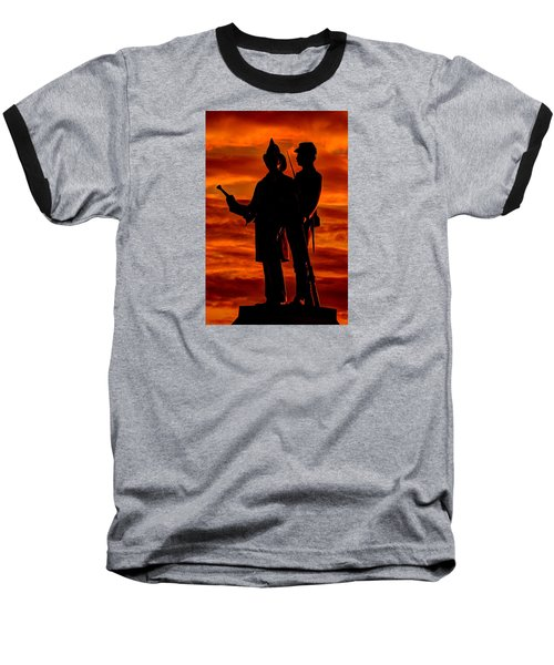 Sky Fire - 73rd Ny Infantry Fourth Excelsior Second Fire Zouaves-b1 Sunrise Autumn Gettysburg Baseball T-Shirt by Michael Mazaika