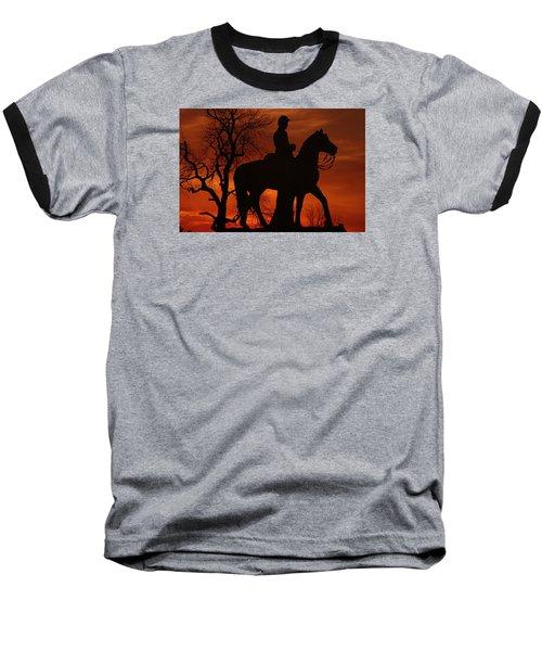 Baseball T-Shirt featuring the photograph Sky Fire - 8th Pennsylvania Cavalry Regiment Pleasonton Avenue Sunset Autumn Gettysburg by Michael Mazaika