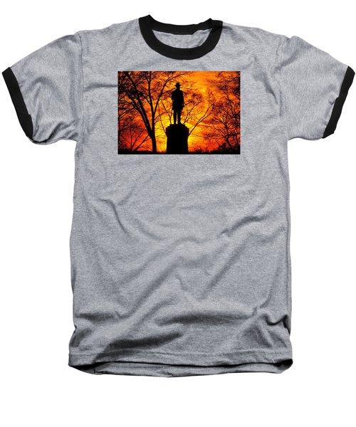 Sky Fire - Flames Of Battle 50th Pennsylvania Volunteer Infantry-a1 Sunset Antietam Baseball T-Shirt by Michael Mazaika
