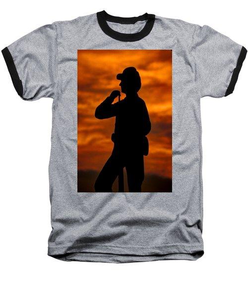 Baseball T-Shirt featuring the photograph Sky Fire - Flames Of Battle 7th Pennsylvania Reserve Volunteer Infantry-a1 Sunset Antietam by Michael Mazaika