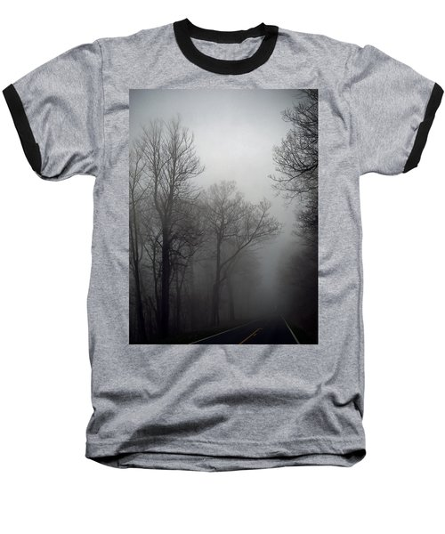 Skyline Drive In Fog Baseball T-Shirt