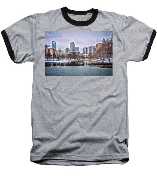 Baseball T-Shirt featuring the photograph Skyline Of Uptown Charlotte North Carolina At Night by Alex Grichenko