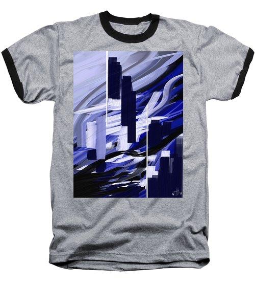 Baseball T-Shirt featuring the painting Skyline Reflection On Water by Jennifer Hotai