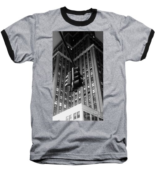 Skyscraper Framed Traffic Light Baseball T-Shirt by James Aiken