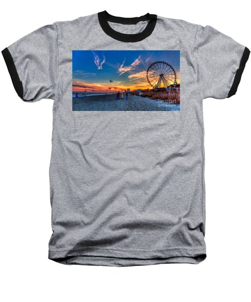 Skywheel Sunset At Myrtle Beach Baseball T-Shirt