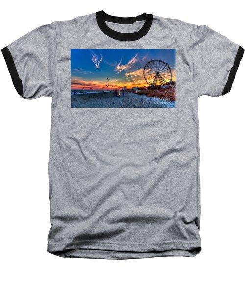 Skywheel Sunset At Myrtle Beach Baseball T-Shirt