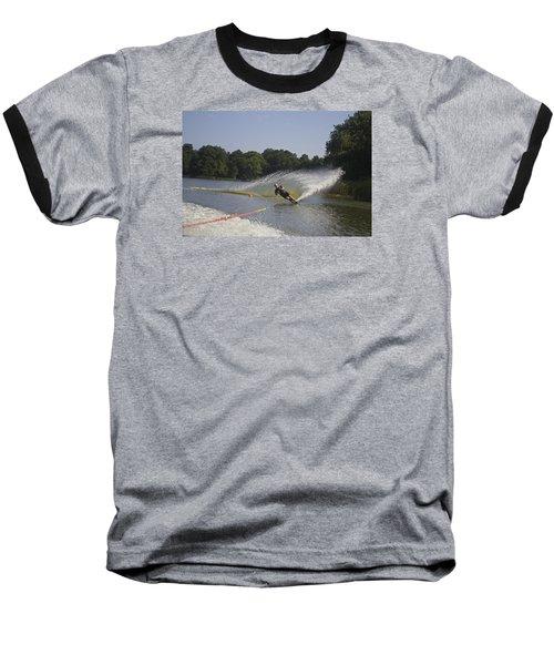 Slalom Waterskiing Baseball T-Shirt by Venetia Featherstone-Witty
