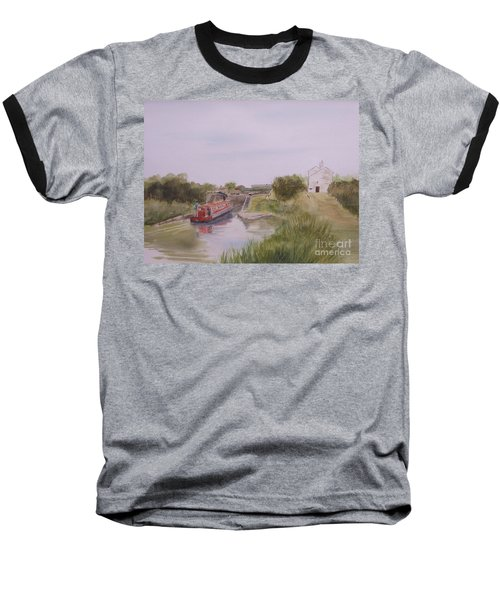 Baseball T-Shirt featuring the painting Slapton Lock by Martin Howard