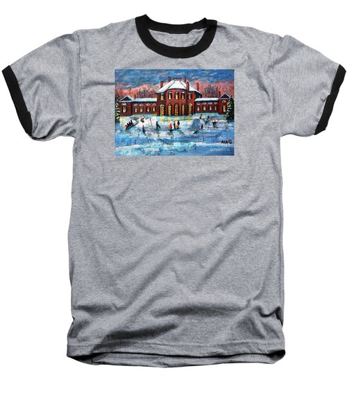 Sledding At The Gore Estate Baseball T-Shirt by Rita Brown