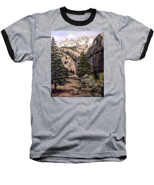 Baseball T-Shirt featuring the painting Sleeping Faces In The Rock by Donna Tucker