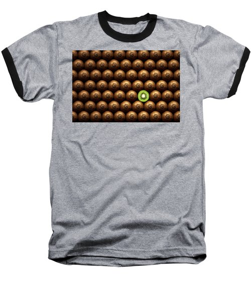 Sliced Kiwi Between Group Baseball T-Shirt by Johan Swanepoel