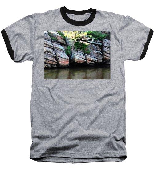 Sliced Rock Baseball T-Shirt by Natalie Ortiz
