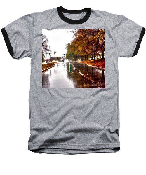 Baseball T-Shirt featuring the photograph Slick Streets Rainy View by Lesa Fine