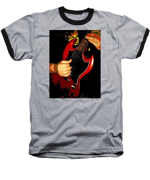 Red Gibson Guitar Baseball T-Shirt by Chris Berry