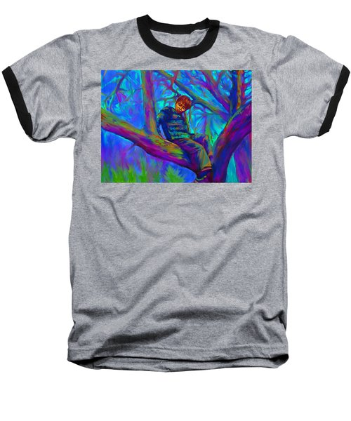 Small Boy In Large Tree Baseball T-Shirt