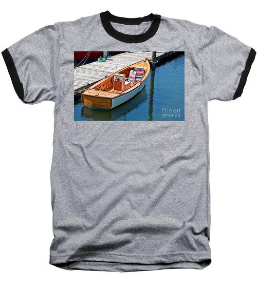 Small Dinghy Boat Art Prints Baseball T-Shirt by Valerie Garner