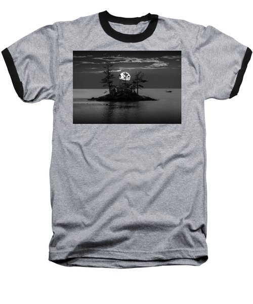 Small Island At Sunset In Black And White Baseball T-Shirt