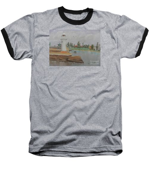 Small Lighthouse At Wollongong Harbour Baseball T-Shirt by Pamela  Meredith