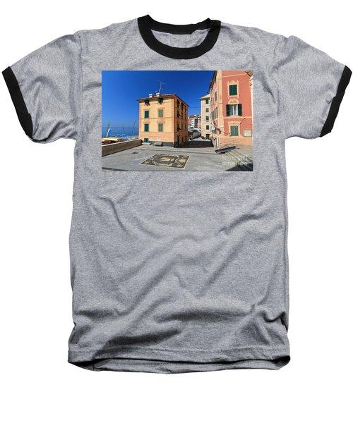 Baseball T-Shirt featuring the photograph small square in Sori by Antonio Scarpi