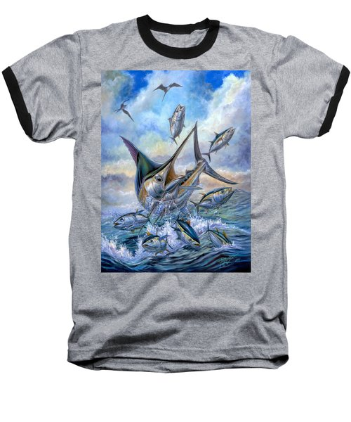 Small Tuna And Blue Marlin Jumping Baseball T-Shirt