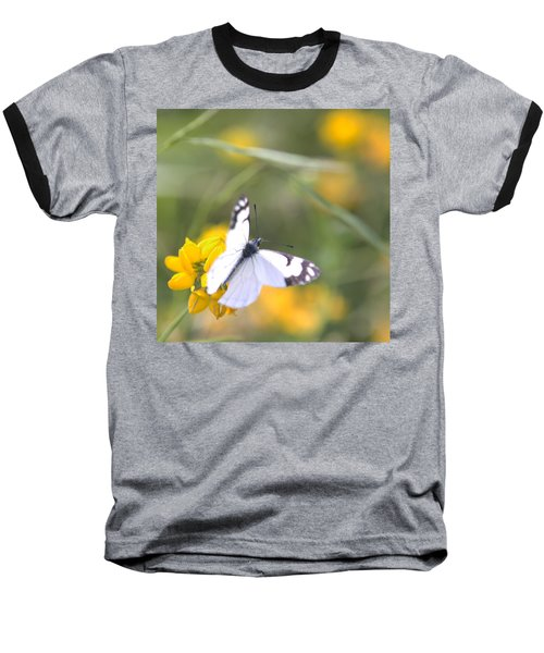 Baseball T-Shirt featuring the photograph Small White Butterfly On Yellow Flower by Belinda Greb