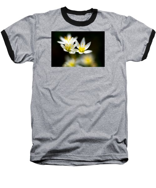 Small White Flowers Baseball T-Shirt by Darryl Dalton
