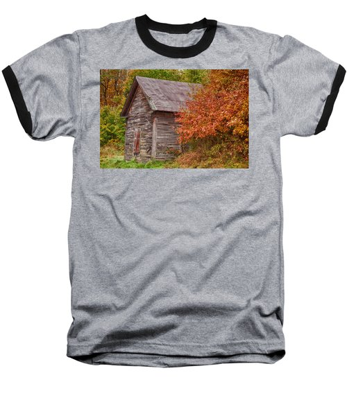 Baseball T-Shirt featuring the photograph Small Wooden Shack In The Autumn Colors by Jeff Folger