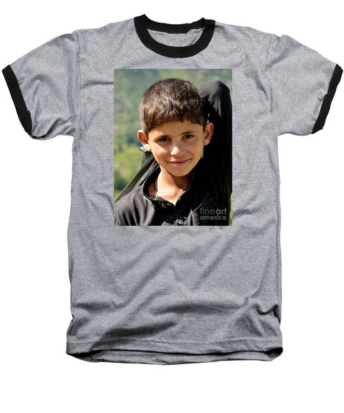 Baseball T-Shirt featuring the photograph Smiling Boy In The Swat Valley - Pakistan by Imran Ahmed