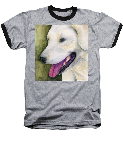 Smiling Lab Baseball T-Shirt by Stephen Anderson