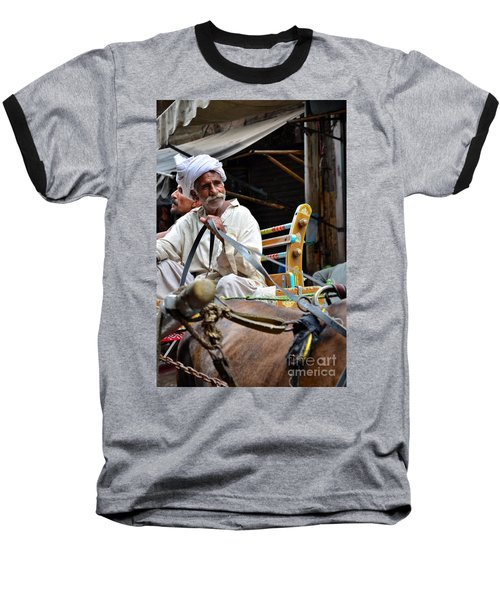 Smiling Man Drives Horse Carriage In Lahore Pakistan Baseball T-Shirt