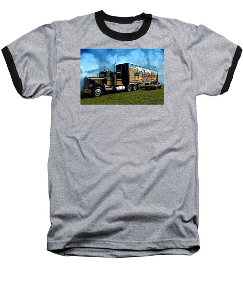Baseball T-Shirt featuring the photograph Smokey And The Bandit Tribute 1973 Kenworth W900 Black And Gold Semi Truck And The Bandit Transam by Tim McCullough