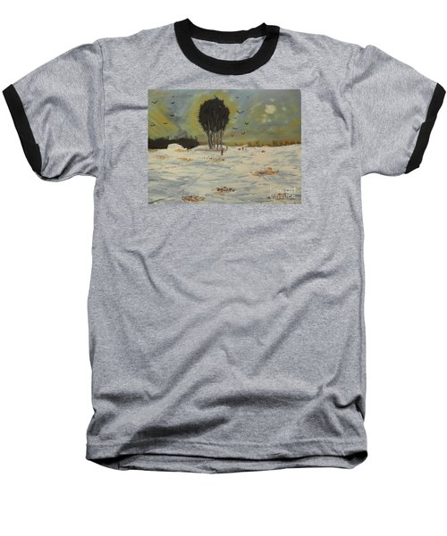 Baseball T-Shirt featuring the painting Snow At Christmas by Pamela  Meredith